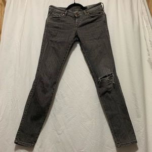 DIESEL Low rise medium grey skinny low rise jeans
